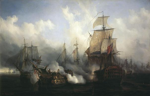 Trafalgar-Auguste_Mayer-Este-óleo-que-Auguste-Mayer-pintó-en-1836-representa-al-Bucentaure-recibiendo-una-andanada-del-HMS-Sandwich-durante-la-Batalla-de-Trafalgar